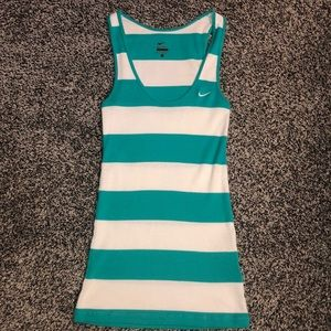 Nike green white strip ribbed athletic tank small